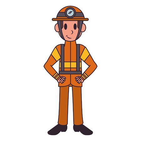 Firefighter with helmet character  worker cartoon vector illustration graphic design