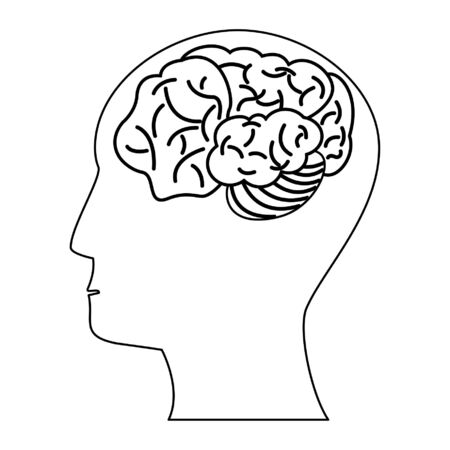 Head with brain symbol isolated vector illustration graphic design
