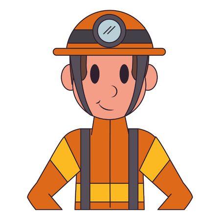 Firefighter with helmet character  worker cartoon profile vector illustration graphic design