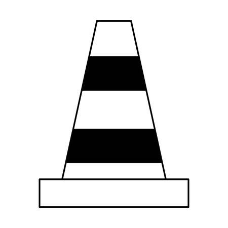 warning cone icon cartoon vector illustration graphic design black and white