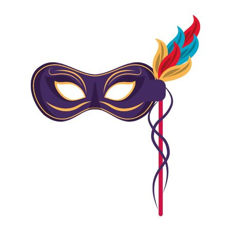 Festival mask with feathers isolated vector illustration graphic design
