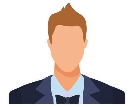 elegant man portrait avatar cartoon character with bow tie vector illustration graphic design