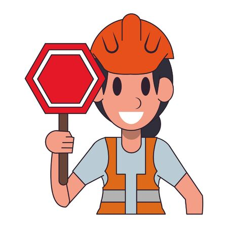 Construction worker with roadsign character  worker cartoon profile vector illustration graphic design