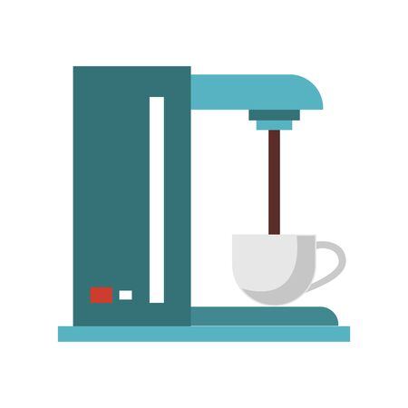 Coffee maker machine pouring coffee fresh hot beverage automatic drip vector illustration graphic desing