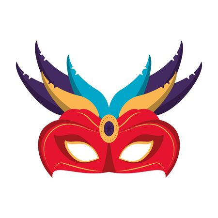 Festival mask with feathers and gem isolated vector illustration graphic design
