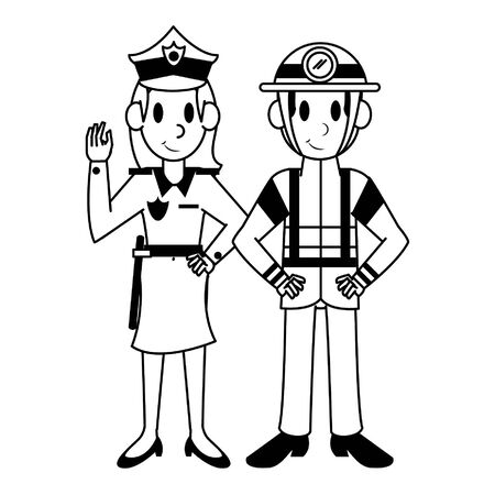 Professional workers firefighter and police officer characters cartoons vector illustration graphic design