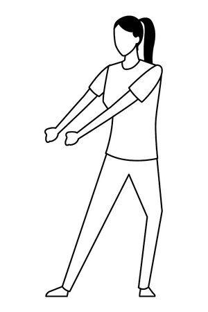 Woman pulling something cartoon vector illustration graphic design Иллюстрация