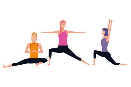 people yoga poses avatars cartoon character short hair vector illustration graphic design 向量圖像