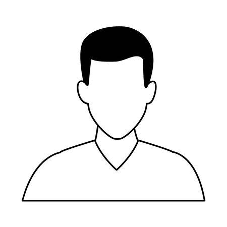 man portrait faceless avatar cartoon character  vector illustration graphic design Çizim