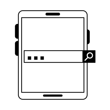 Tablet with password bar symbol vector illustration graphic design