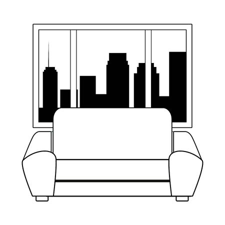 couch next to a window with a cityscape silhouette icon cartoon black and white vector illustration graphic design