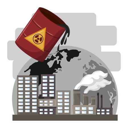 hazardous waste falling over the globe and industrial factories with smoke vector illustration graphic design Ilustrace