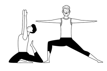 men yoga poses avatar cartoon character black and white isolated vector illustration graphic design