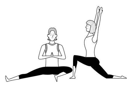 couple yoga poses avatars cartoon character with short hair black and white isolated vector illustration graphic design