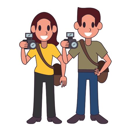 Professional workers photographers characters cartoons vector illustration graphic design
