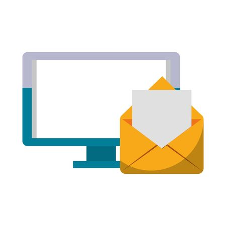 Computer screen and email symbol isolated vector illustration graphic design