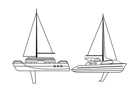 Sailboat ship marine travel pair vehicle machine sea exploration black and white vector illustration graphic design