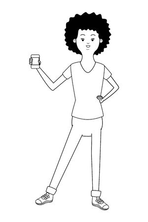 beautiful young african american black woman using smartphone device cartoon vector illustration graphic design