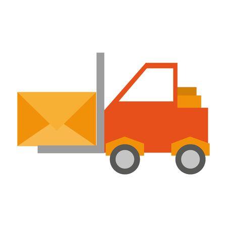 Forklift with envelope symbol cartoon vector illustration graphic design Illustration