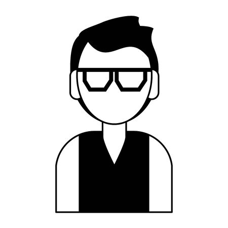 young man person upper body wearing glasses cartoon vector illustration graphic design in black and white