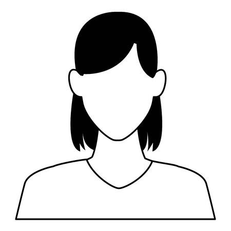 woman portrait faceless avatar cartoon character  vector illustration graphic design