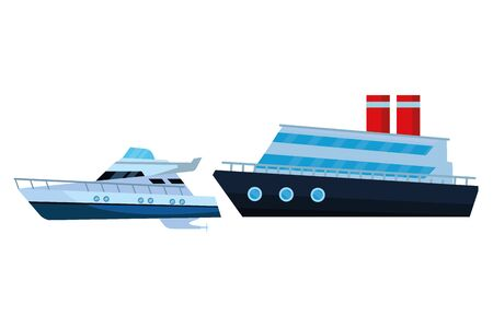 Luxury double deck yatch fast sea travel and exploration cruiseship vector illustration graphic design