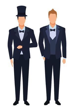 Hombres vestidos de esmoquin avatar personajes de dibujos animados con pajarita y sombrero de copa ilustración vectorial diseño gráfico