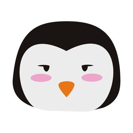 Cute penguin animal head cartoon vector illustration graphic design Иллюстрация
