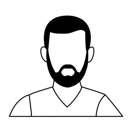 man portrait faceless avatar cartoon character with beard  vector illustration graphic design