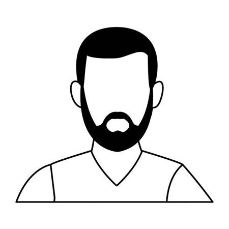 Retrato de hombre avatar sin rostro personaje de dibujos animados con diseño gráfico de ilustración de vector de barba