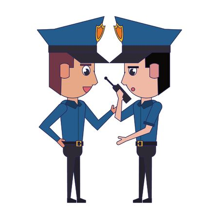 two policemen working policeman using radio communicator avatar cartoon character vector illustration graphic design