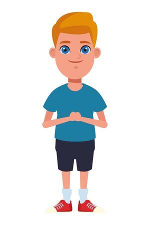 Junges kleines Kind blonder Junge mit blauen Augen Avatar Cartoon Charakter Portrait Vektorgrafiken Vektorgrafik
