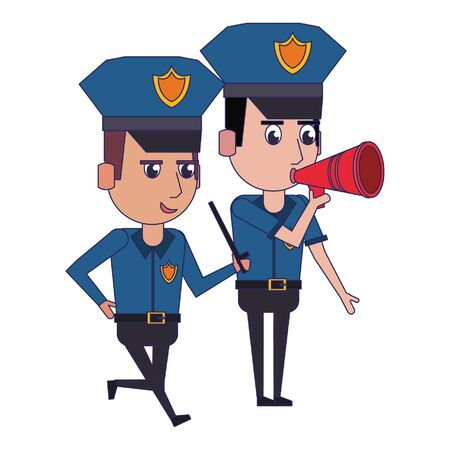 two policemen working policeman using peripone avatar cartoon character vector illustration graphic design