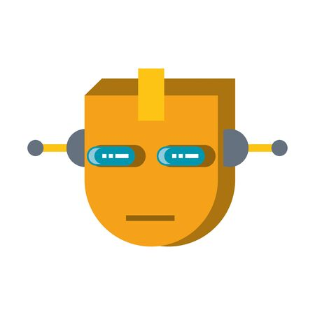 Robot funny character cartoon head isolated vector illustration graphic design Ilustrace