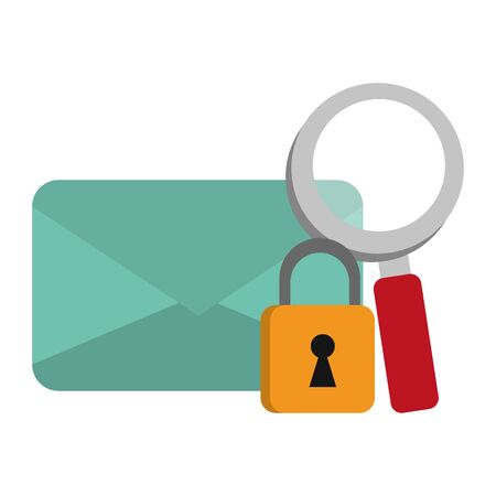email envelope with padlock and magnifying glass symbols vector illustration graphic design Иллюстрация