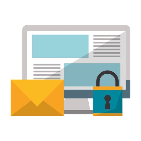 Email computer screen security with padlock vector illustration graphic design