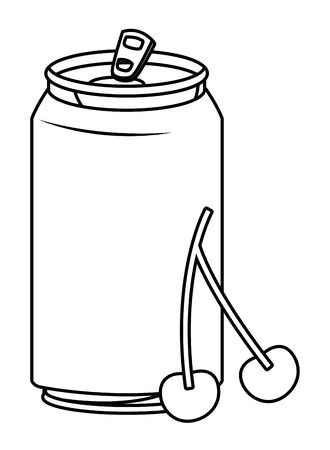 refreshing drink soda with fruit cartoon vector illustration graphic design