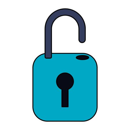Security padlock unlocked symbol isolated vector illustration graphic design