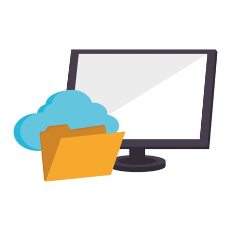 Cloud computing technology computer screen and folder vector illustration graphic design