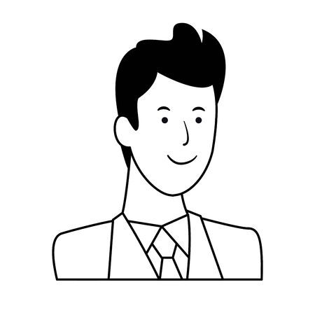 man portrait avatar cartoon character wearing tie black and white vector illustration graphic design