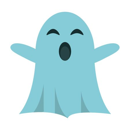 Ghost funny cartoon isolated blue