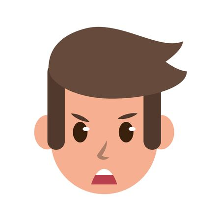 Man face angry character cartoon isolated vector illustration graphic design