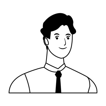 man avatar cartoon character portrait profile style  vector illustration graphic design Иллюстрация
