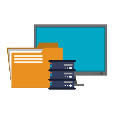 Server database computer and folder symbols vector illustration graphic design