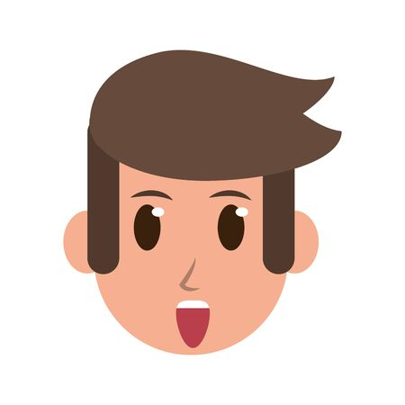Man face surprised character cartoon isolated vector illustration graphic design