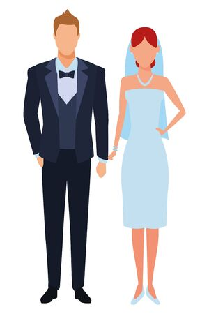groom and bride avatar cartoon character vector illustration graphic design Banque d'images - 124723043