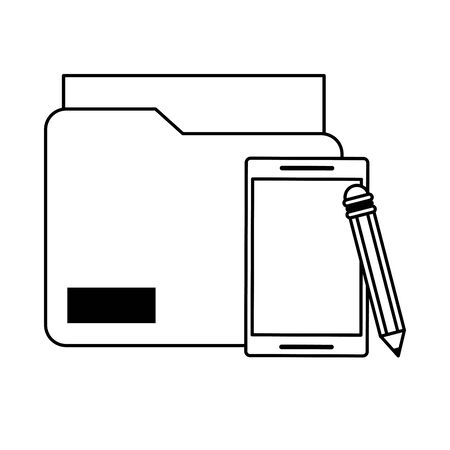 cellphone with documents and pencil icon cartoon vector illustration graphic design black and white