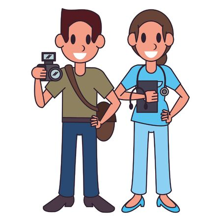 Professional workers photographer and doctor characters cartoons vector illustration graphic design Ilustracja