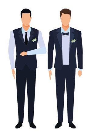 uomini che indossano smoking avatar personaggi dei cartoni animati con cravatta e gilet illustrazione vettoriale graphic design Vettoriali