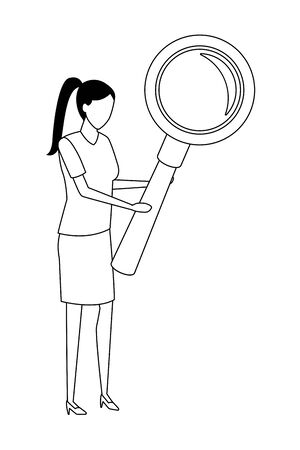 Businesswoman with magnifying glass vector illustration graphic design Иллюстрация